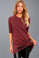 Jagger Washed Burgundy Distressed Long Sleeve Sweater Top 2