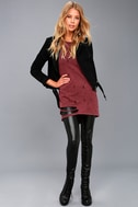 Jagger Washed Burgundy Distressed Long Sleeve Sweater Top 1