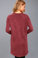 Jagger Washed Burgundy Distressed Long Sleeve Sweater Top 4