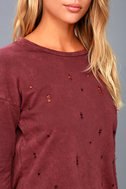 Jagger Washed Burgundy Distressed Long Sleeve Sweater Top 5