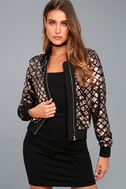 Catwalk It Off Rose Gold Velvet Sequin Bomber Jacket 6