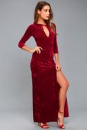 Keep Love Alive Wine Red Velvet Maxi Dress 6