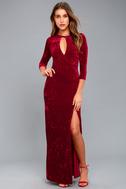 Keep Love Alive Wine Red Velvet Maxi Dress 5