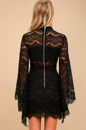Bewitching Babe Black Lace Bell Sleeve Dress 4