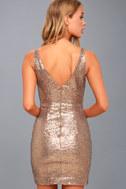 Champagne Showers Matte Bronze Sequin Bodycon Dress 3
