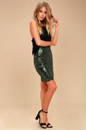 Dancing 'til Daylight Dark Green Sequin Bodycon Skirt 1