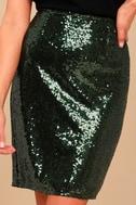 Dancing 'til Daylight Dark Green Sequin Bodycon Skirt 4