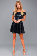 Dazzle Darling Navy Blue Sequin Off-the-Shoulder Skater Dress 2