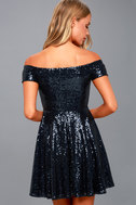 Dazzle Darling Navy Blue Sequin Off-the-Shoulder Skater Dress 3