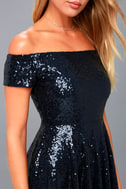 Dazzle Darling Navy Blue Sequin Off-the-Shoulder Skater Dress 4