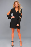 Told You So Black Long Sleeve Wrap Dress 2
