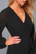 Told You So Black Long Sleeve Wrap Dress 5