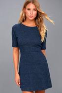 London Lovely Heather Navy Blue Skater Dress 1
