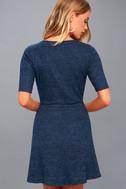 London Lovely Heather Navy Blue Skater Dress 3