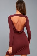 Kiss and Tell Burgundy Long Sleeve Backless Dress 8