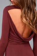 Kiss and Tell Burgundy Long Sleeve Backless Dress 9