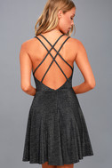 You Glow Girl Black and Silver Backless Skater Dress 3