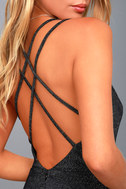 You Glow Girl Black and Silver Backless Skater Dress 4