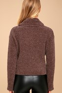 Snuggle Central Taupe Chenille Cowl Neck Sweater 3