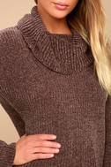 Snuggle Central Taupe Chenille Cowl Neck Sweater 4