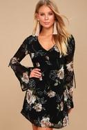 Serendipity Black Floral Print Long Sleeve Shift Dress 1