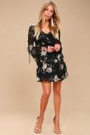 Serendipity Black Floral Print Long Sleeve Shift Dress 2