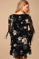 Serendipity Black Floral Print Long Sleeve Shift Dress 3