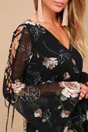 Serendipity Black Floral Print Long Sleeve Shift Dress 4