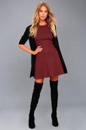 London Lovely Heather Burgundy Skater Dress 2