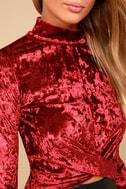Nice to Meet You Wine Red Velvet Mock Neck Crop Top 4