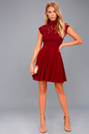 Instant Romance Wine Red Lace Backless Skater Dress 1