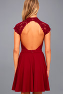 Instant Romance Wine Red Lace Backless Skater Dress 3