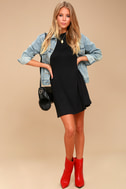 Meant to Be Black Mock Neck Swing Dress 2