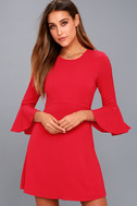 Center of Attention Red Flounce Sleeve Dress 6
