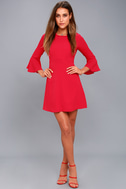 Center of Attention Red Flounce Sleeve Dress 5