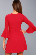 Center of Attention Red Flounce Sleeve Dress 7