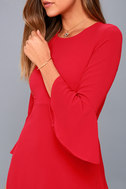 Center of Attention Red Flounce Sleeve Dress 8