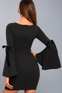 Once in a While Black Bell Sleeve Bodycon Dress 7