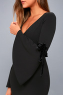 Once in a While Black Bell Sleeve Bodycon Dress 8