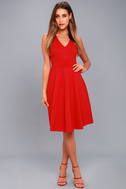 Hello World Red Midi Dress 5