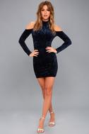 A Little Crush Navy Blue Velvet Cold-Shoulder Bodycon Dress 2