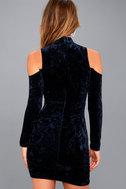 A Little Crush Navy Blue Velvet Cold-Shoulder Bodycon Dress 3