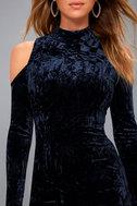 A Little Crush Navy Blue Velvet Cold-Shoulder Bodycon Dress 4
