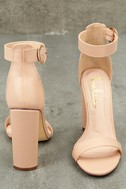 Kamali Nude Ankle Strap Heels 10