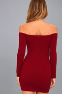 Over the Swoon Wine Red Off-the-Shoulder Bodycon Dress 3