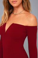 Over the Swoon Wine Red Off-the-Shoulder Bodycon Dress 4