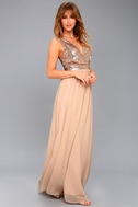 Elegant Encounter Champagne Sequin Maxi Dress 3