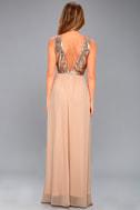 Elegant Encounter Champagne Sequin Maxi Dress 4