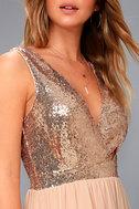 Elegant Encounter Champagne Sequin Maxi Dress 5