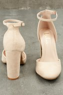 Laura Nude Suede Ankle Strap Heels 10